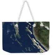 Satellite View Of The Croatian Islands Weekender Tote Bag