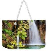Scenic Waterfall In Autumn Weekender Tote Bag