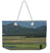 Scenic Wyoming Landscape With Grazing Weekender Tote Bag