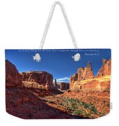 Scripture And Picture Romans 8 37  Weekender Tote Bag