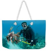 Scuba Diver With Spear Of Invasive Weekender Tote Bag
