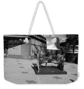 Scuptures On The Corner In Black And White Weekender Tote Bag