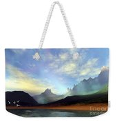 Seagulls Fly Near A Beautiful Island Weekender Tote Bag by Corey Ford