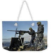 Seaman Fires A .50 Caliber Machine Gun Weekender Tote Bag