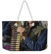 Seaman Prepares To Load Ammunition Weekender Tote Bag
