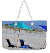 seashore 82 Beach Chairs Beach Umbrella and Tire Treads in Sand Weekender Tote Bag