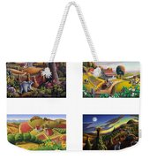 seasonal farm country folk art-set of 4 farms prints amricana American Americana print series Weekender Tote Bag