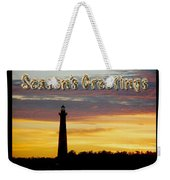 Season's Greetings Card - Cape Hatteras Lighthouse Sunset Weekender Tote Bag
