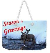 Seasons Greetings Deer Weekender Tote Bag