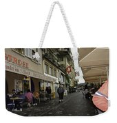 Seated In The Cafe Along The River In Lucerne In Switzerland Weekender Tote Bag