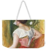 Seated Young Woman Weekender Tote Bag by Pierre Auguste Renoir