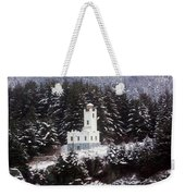 Sentinel Island Lighthouse In The Snow Weekender Tote Bag