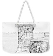 Sentry Tower Castillo San Felipe Del Morro Fortress San Juan Puerto Rico Line Art Black And White Weekender Tote Bag by Shawn O'Brien