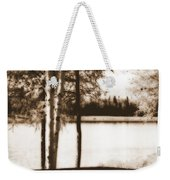 Sepia Picnic Table Weekender Tote Bag