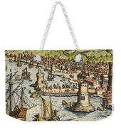 Seville: Departure, 1594. /ndeparture For The New World From Sanlucar De Barrameda, The Port Of Seville, Spain. Line Engraving, 1594, By Theodor De Bry Weekender Tote Bag