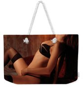 Sexy Young Woman Sitting In A Chair Weekender Tote Bag