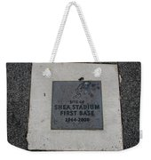 Shea Stadium First Base Weekender Tote Bag by Rob Hans