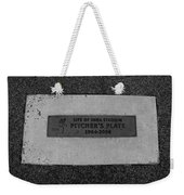 Shea Stadium Pitchers Mound In Black And White Weekender Tote Bag