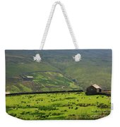 Sheep Graze In A Pasture In Swaledale Weekender Tote Bag