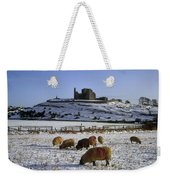Sheep On A Snow Covered Landscape In Weekender Tote Bag