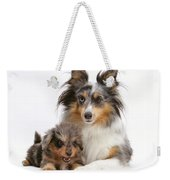 Sheepdog With Puppy Weekender Tote Bag