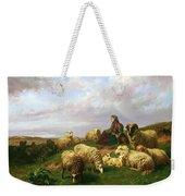 Shepherdess Resting With Her Flock Weekender Tote Bag by Edmond Jean-Baptiste Tschaggeny