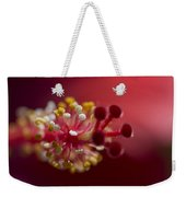Showy Tropical Vibrant Red Hibiscus Pistil Weekender Tote Bag