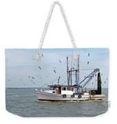 Shrimp Boat And Gulls Weekender Tote Bag