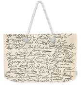 Signatures Attached To The American Declaration Of Independence Of 1776 Weekender Tote Bag