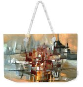 Silhouette Of A City Is Reflected In The Lake Weekender Tote Bag
