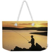 Silhouette Of A Fisherman Fishing On Weekender Tote Bag
