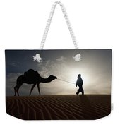 Silhouette Of Berber Leading Camel Weekender Tote Bag