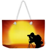 Silhouette Of Photographer With Big Sun  Weekender Tote Bag