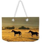 Silhouetted Horses Running Weekender Tote Bag