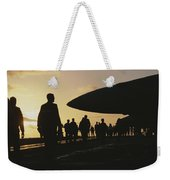 Silhouetted Military Personnel Weekender Tote Bag