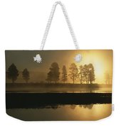 Silhouetted Trees Along The Yellowstone Weekender Tote Bag