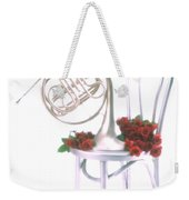 Silver French Horn On Silver Chair Weekender Tote Bag