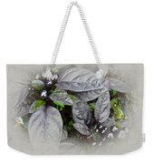 Silver Leaves And Berries Weekender Tote Bag