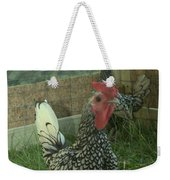 Silver Seabright Rooster And Hen Weekender Tote Bag