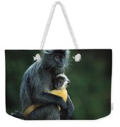 Silvered Leaf Monkey And Baby Weekender Tote Bag