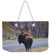 Single Buffalo In Yellowstone Np Weekender Tote Bag