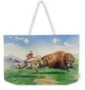Sioux Hunting Buffalo On Decorated Pony Weekender Tote Bag