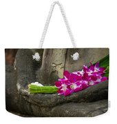 Sitting Buddha In Meditation Position With Fresh Orchid Flowers Weekender Tote Bag