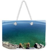 Sitting On A Cliff Weekender Tote Bag