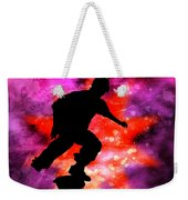 Skateboarder In Cosmic Clouds Weekender Tote Bag