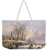 Skaters On A Frozen River Before Windmills Weekender Tote Bag