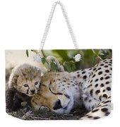 Sleeping Cheetah And Cub Kenya Weekender Tote Bag