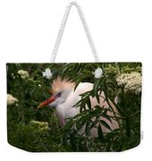 Sleepy Egret In Elderberry Weekender Tote Bag
