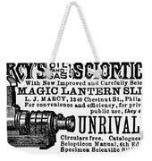 Slide Projector Ad, 1878 Weekender Tote Bag