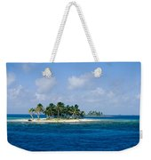Small Palm Tree Covered Islands In Blue Weekender Tote Bag
